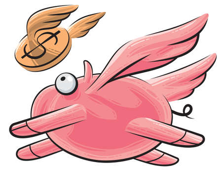 Fat pig with wings flying, following a flying dollar coin Vector