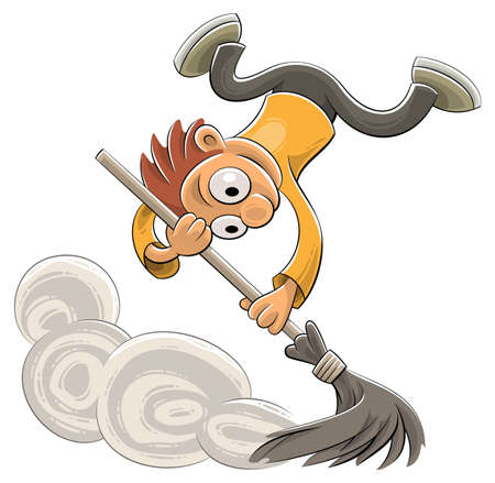 Illustration of an excited cleaner sweeping dust with a broom in a joyful way