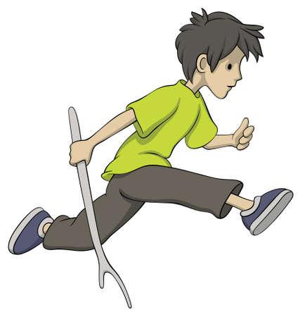 Illustration of running boy with a stick Illustration