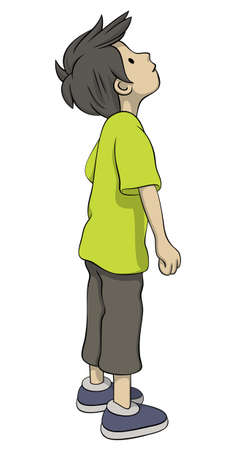 look at: Boy in green shirt is looking up surprised