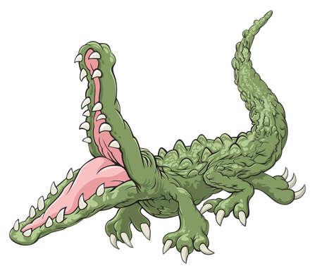 Ilustración de cocodrilo verde con fauces abiertas Ilustración de vector