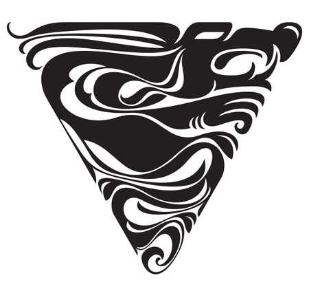 Dragon design. Black silhouette. Ornament Illustration