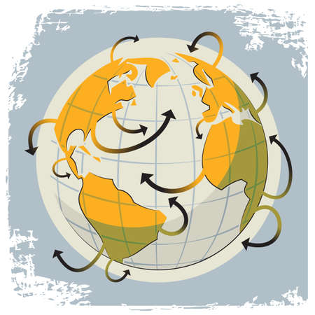 Illustration of a globe and a many arrows as a symbol of communication and travel