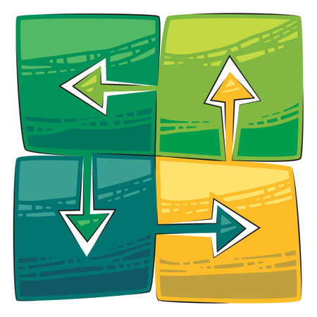 Four green arrows connected with each other Stock Vector - 11601706