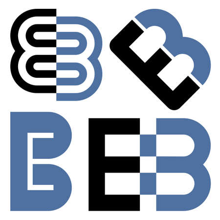 Design elements of initial letters E and B