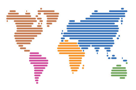 World map made up of horizontal lines Stock Vector - 11601632
