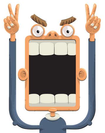 opened mouth: Aficionado a los deportes gritando con las manos hacia arriba y muestra signos de victoria. Su boca se abre ampliamente