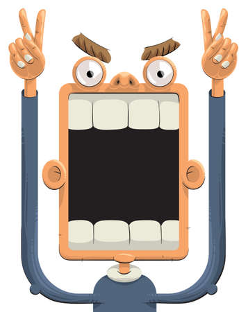 big mouth: Sports fan screaming with hands up and showing signs of victory. His Mouth is widely opened Illustration