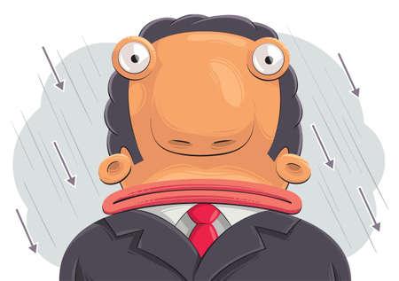 empresario triste: Ilustraci�n de confundidos hombre de negocios triste con la cabeza grande. Lluvia de flechas en el fondo