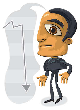 Illustration of standing confused businessman with big head. Arrow showing down in the background