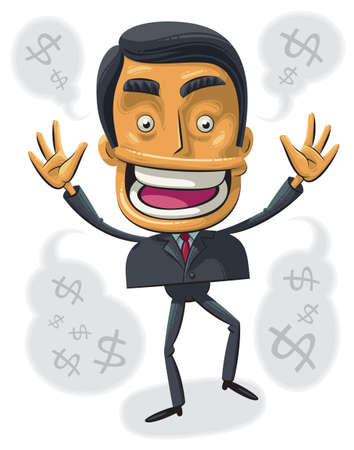 Illustration of successful businessman dancing from joy and laughing Illustration