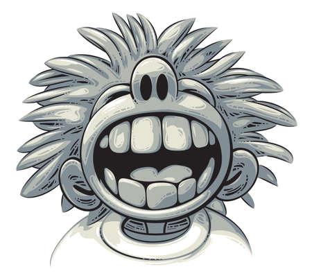 Leuke gekke jongen met grote tanden en wilde kapsel is hardop lachen