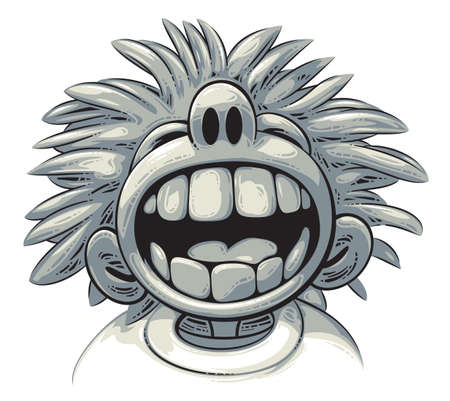 Cute crazy boy with big teeth and wild hair style is laughing out loud