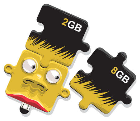 Illustration of memory cards as puzzles