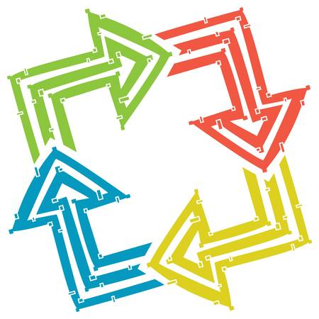 Four arrows made out of lines: green, red, yellow and blue