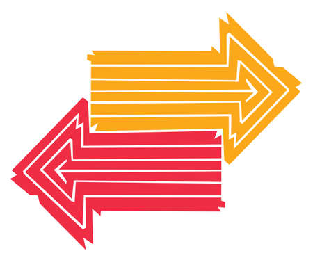 opposite: Two colorful arrows made out of lines pointing into opposite directions Illustration