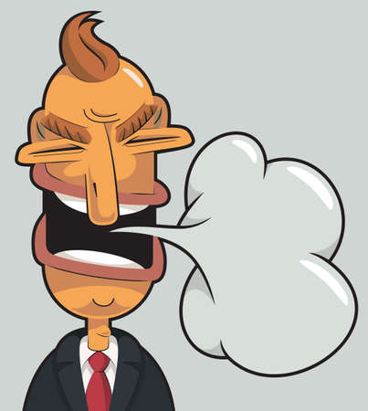 Illustration of an angry businessman speaking. Speech cloud coming out of his mouth