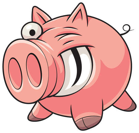 Illustration of a happy fat pink pig with a big smile showing teeth Illustration