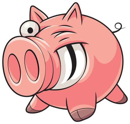 Ilustración de un feliz cerdo rosa de grasa con una gran sonrisa mostrando los dientes