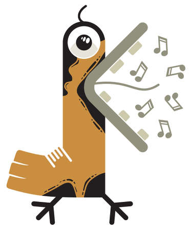 Illustration of a singing bird with a widely opened beak