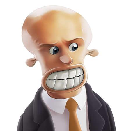 gente loca: Furioso calvo y de negocios con grandes dientes y ojos redondos