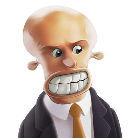 malice: Furious bald-headed Businessman with big teeth and round eyes