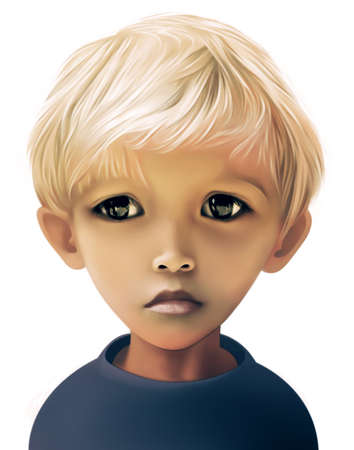 cute little boy: Portrait of a sad boy with light hair and big eyes Stock Photo