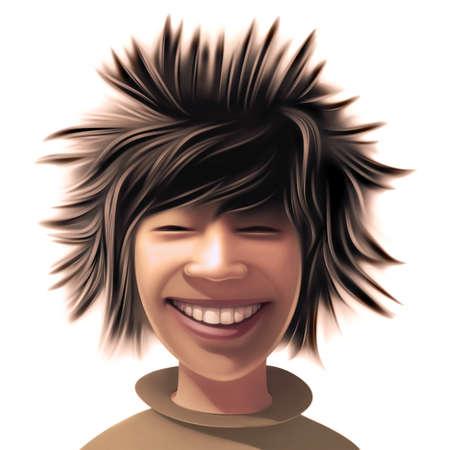 wild hair: Ragazzo con uno stile di capelli selvaggi Archivio Fotografico