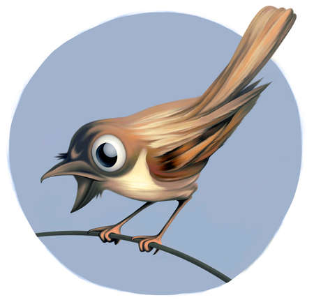 Small playful and surprised bird on a twig. Blue sky in the background