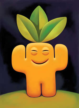 simplified: Simplified figure of a nature-loving green man with three big leaves on top of his head