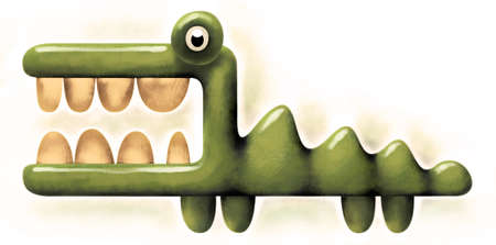 rapacity: Aggressive crocodile with wide opened mouth and threatening big teeth