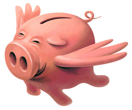 cartoon bank: Happy pink pig with wings flying in the sky and smiling from happiness and satisfaction Stock Photo