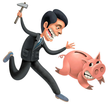 Desperate businessman with hammer is persecuting a fat pig full of saved money