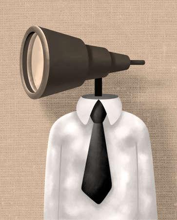 Homme d'affaires avec une tête lentille à focale variable