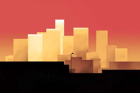 Red skyline of a downtown in the sunset hour Stock Photo