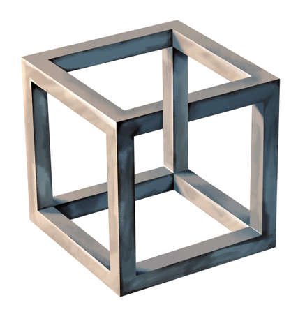 Impossible cube, abstract object, symbol photo