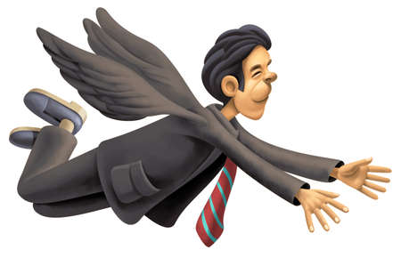 fake smile: Happy businessman with wings flying in the sky Stock Photo