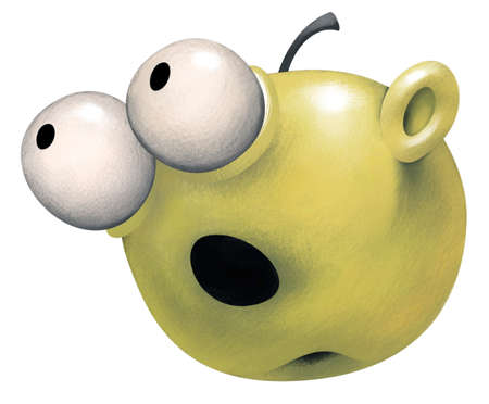 gullible: Green apple with a surprised naive Face expression. Its eyes are widely open and look like white balls stisking out