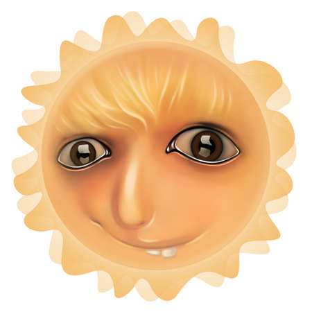 Yellow smiling face of a Sun