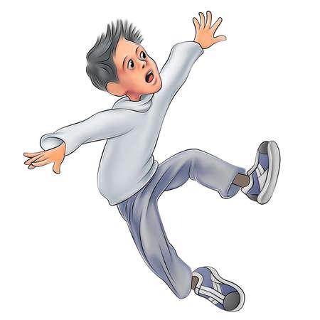 slip: Falling boy