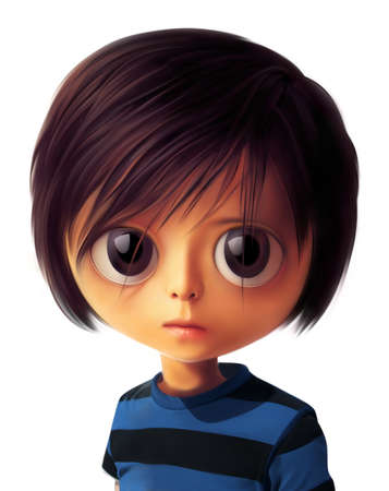 big eyes: Portrait of sad little girl with very big eyes