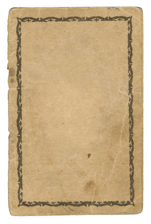 outworn: Old aged paper with stains. Back cover of an old passport. Ornamented Frame