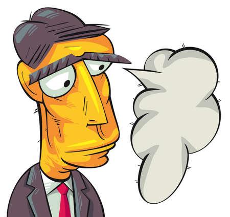 thinking bubble: Serious businessman thinking