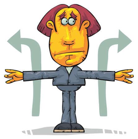 business dilemma: Standing man solving a dilemma