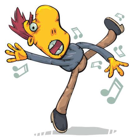 baile caricatura: Hombre bailando como un loco y divertido cantar