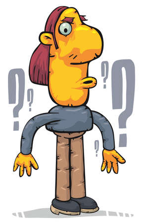 tricky: Confused man surrounded by question marks Illustration