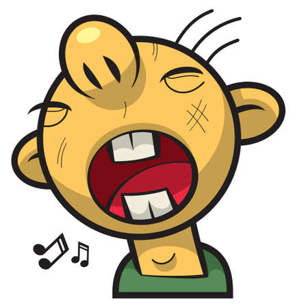 screaming head: Singing boy with round face and big mouth Illustration