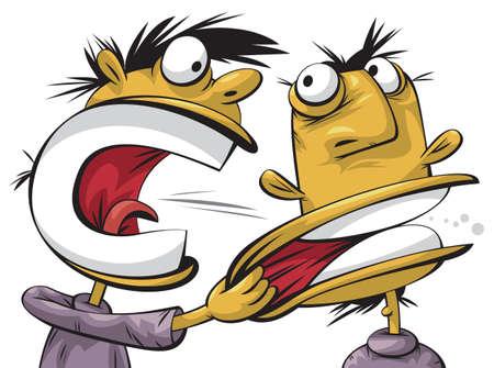 awkward: Hombre arrogante enojado le grita al otro hombre tranquilo