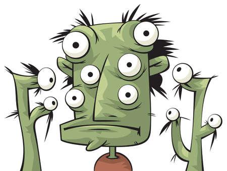 Three green heads of alien creatures 矢量图像