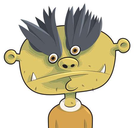 unfriendly: Cute little green devil face Illustration